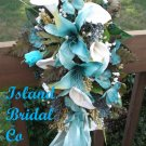 Silk Flower Wedding Bridal Bouquet Set Turquoise White Lilies 15 pc