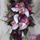 Silk Flower Wedding Bouquet Set Sangria Wine 12 pc