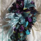 Silk Flower Wedding Bouquet Set Navy,Turquoise,Plum 12 pc Custom Design