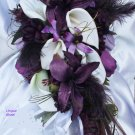 Silk Flower Wedding Bouquet Set, Deep Plum White Lilies Feathers 12 pc