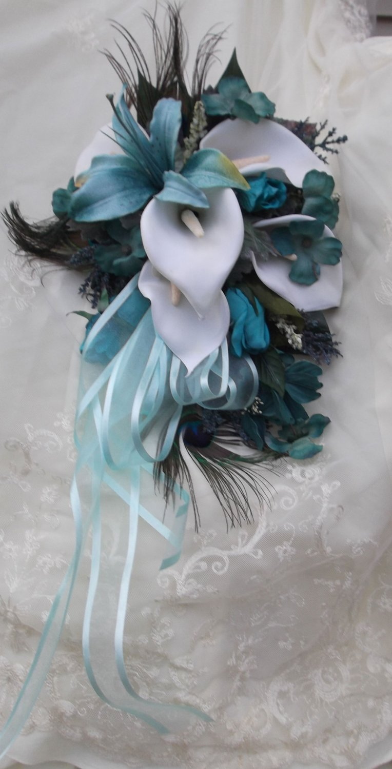 Silk Flower Wedding Bouquet Set Turquoise, White Lilies Feathers 12 pc set Custom Design