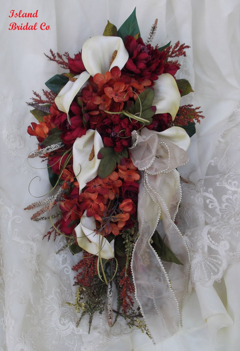 Silk Flower Wedding Bouquet Set Celtic Red 11pc set Custom Design