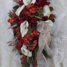 Silk Flower Wedding Bouquet Set Celtic Red 11pc set Custom Design