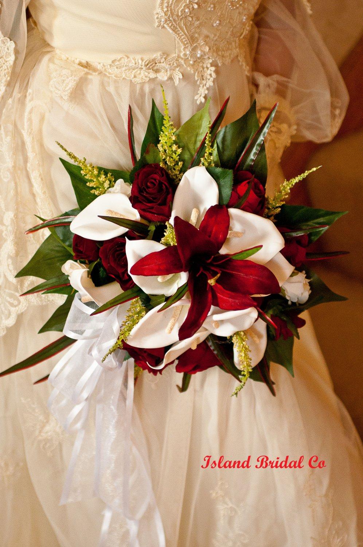 Silk Flower Wedding Bouquet Set Celtic Red 12 pc Round Bouquet