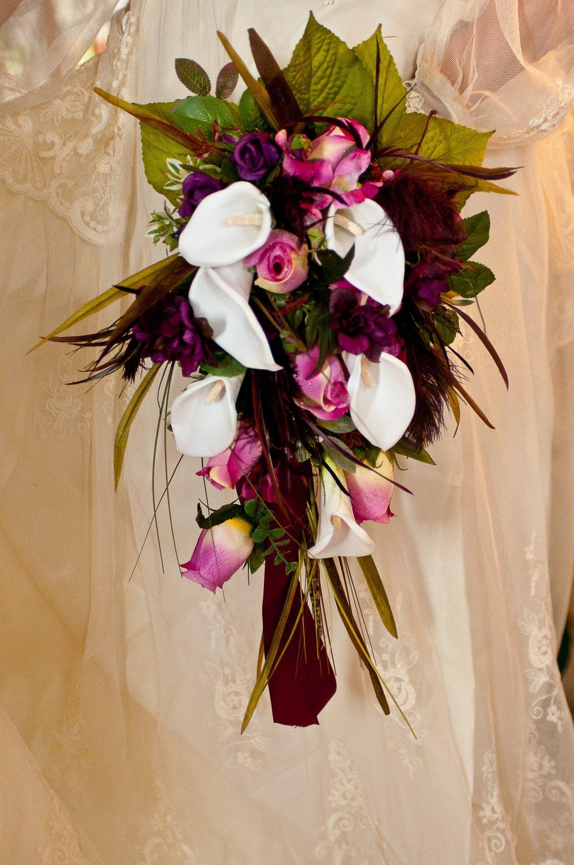Silk Flower Wedding Bouquet Set Celtic Sangria Wine White Lilies 10 pc set