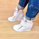 WHITE HIGH HEEL WOMEN WEDGE SNEAKER BOOTIE