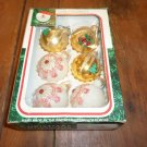 Set of Six Medium Sized Glass Christmas Balls Ornaments Santa's World Vintage COLORFUL 1970s