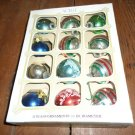 Box of 12 Noelle Small Christmas Balls Glass Ornaments Striped Patterns Solid 1970s Vintage 1 3/4 In