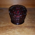 Vintage Dark Ruby Red Cranberry Glass Votive Candle Holder Lace Edging Rim