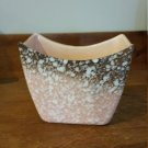 Royal Copley Art Deco Look Pottery Vase Planter Pink Brown White Dots Mid Century Modern