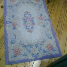Beautiful Cottage Chic Cotton Hooked Rug Roses Blues Pastels Rectangular Circa 1940