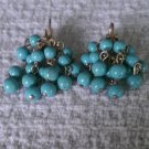 Vintage Turquoise Clip On Cluster Earrings by Coro Circa 1940
