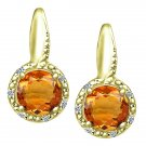 1.22 tcw Round Cut Citrine & Natural Diamond Twist Drop Earrings 14k Yellow Gold