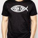 Best Buy FISH ON Jesus Fish Ichthus Fishing Men Adult T-Shirt Sz S-2XL