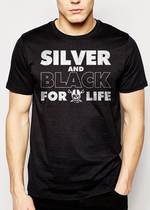 Best Buy Silver and Black Forever Oakland Raiders Men Adult T-Shirt Sz S-2XL
