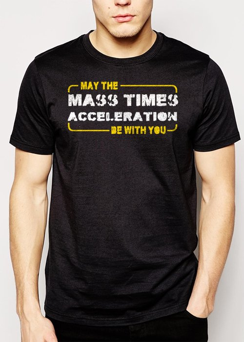 Best Buy Star Wars May the Force Be With You Mass Times Acceleration Men Adult T-Shirt Sz S-2XL