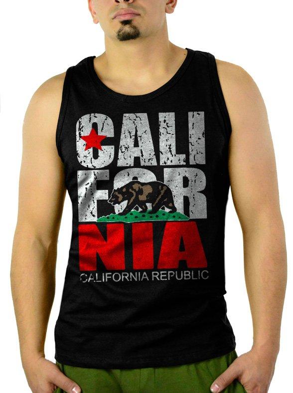 California Republic state Bear Flag Men Black Tank Top Sleeveless