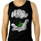 Cartoon Hands Pinch Pot Weed Swag Men Black Tank Top Sleeveless