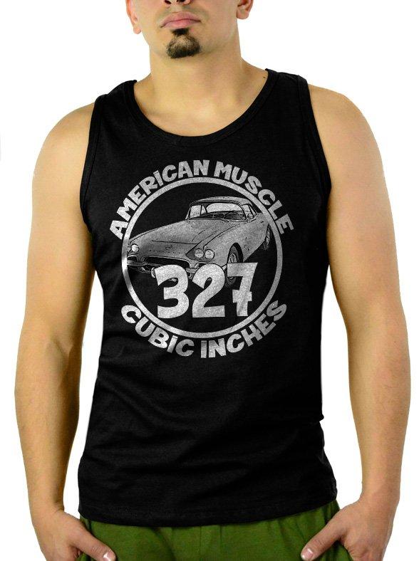 327 CI AMERICAN MUSCLE CAR GM CHEVY CAMARO Men Black Tank Top Sleeveless
