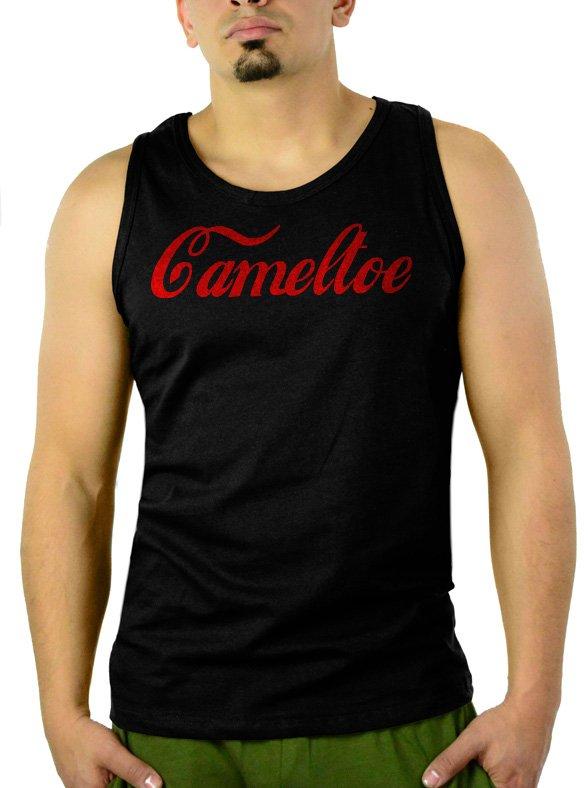 CAMELTOE FUNNY COKE SPOOF SATIRE Men Black Tank Top Sleeveless