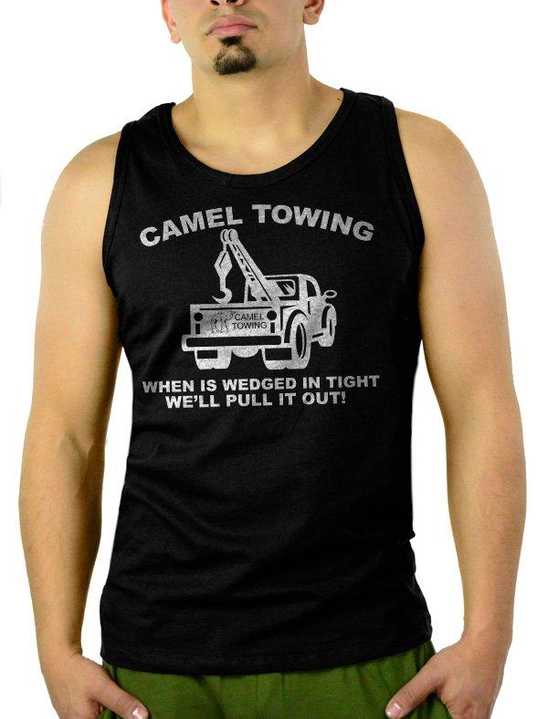 Camel Towing Adult Humor Rude Tow Truck Men Black Tank Top Sleeveless