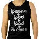 iPod iPhone iPad iBroke Men Black Tank Top Sleeveless