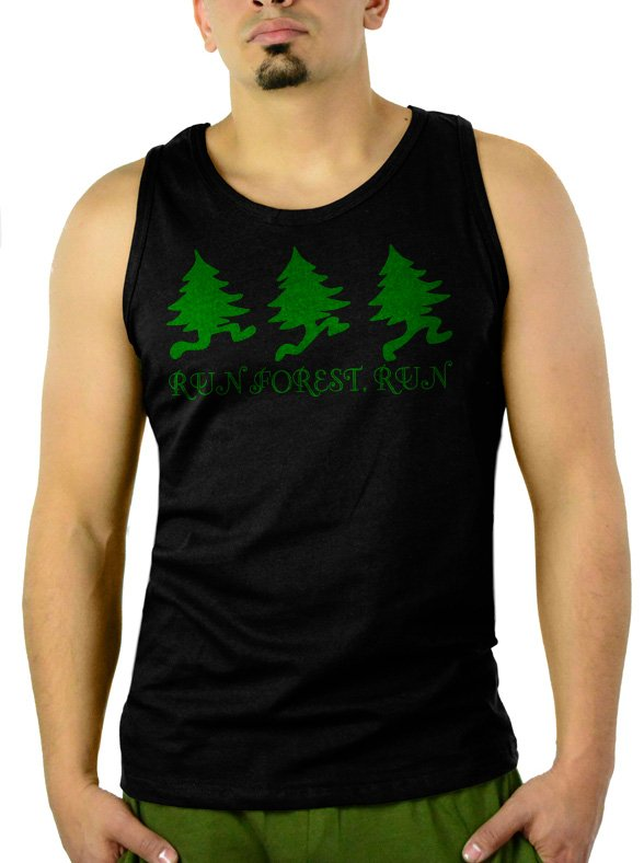 Run Forest Run - Forest Gump Movie Parody Men Black Tank Top Sleeveless