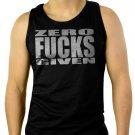 ZERO FCKS GIVEN Men Black Tank Top Sleeveless