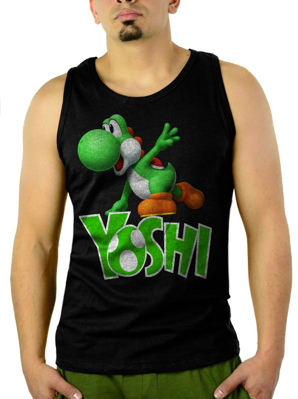 Boys Nintendo Big Green Yoshi Men Black Tank Top Sleeveless