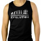 Drummer Evolution Funny Music humor Drums Men Black Tank Top Sleeveless