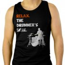 Relax The Drummer's Here Men Black Tank Top Sleeveless