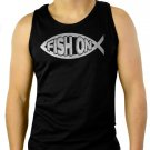 FISH ON Jesus Fish Ichthus Fishing Men Black Tank Top Sleeveless