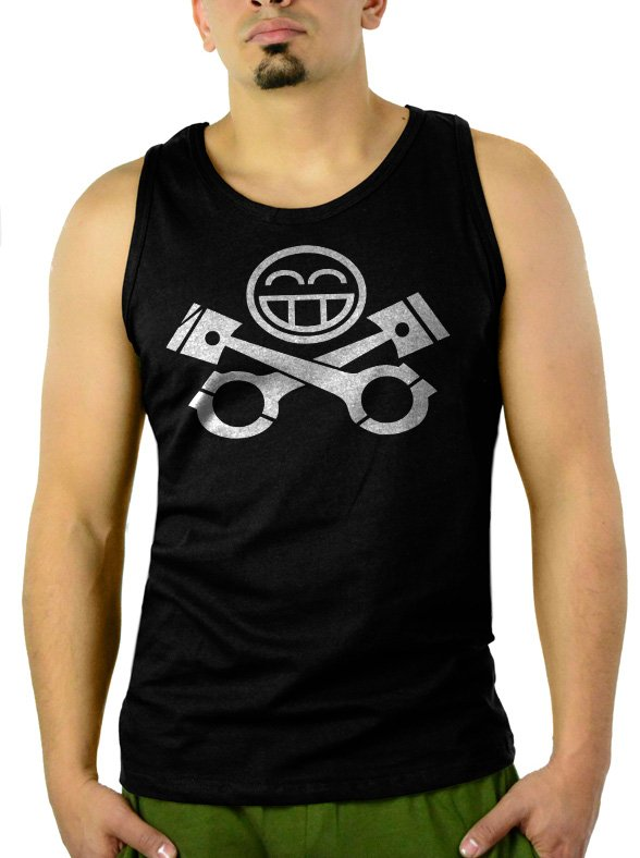 JDM RACING CAR Piston Smiley face Men Black Tank Top Sleeveless