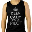 Keep Calm I'm A Pilot Tank Top Fly Flying Airplane Tee