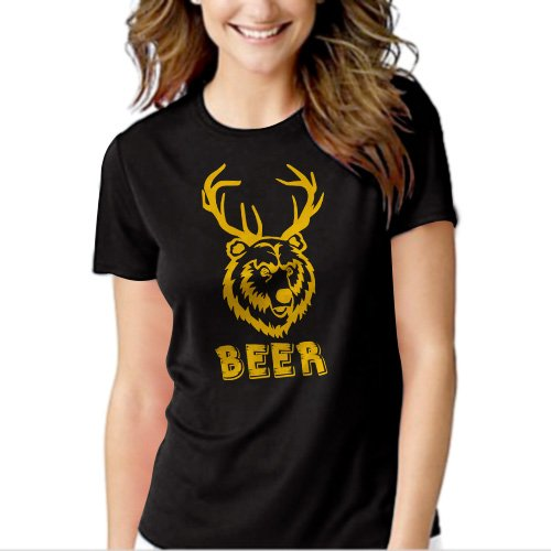 New Hot 501 Beer Deer funny vintage bear drunk party college T-Shirt For Women