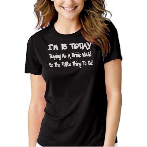 18th Birthday Funny Joke Present Novelty Gift  Black T-shirt For Women