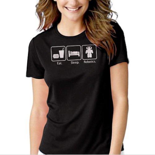Eat Sleep Robotics Nerd Geek Black T-shirt For Women