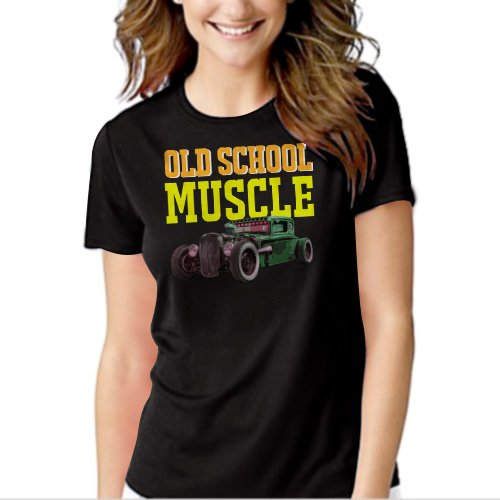 Old School Muscle Truck Rat Classic Car Black T-shirt For Women