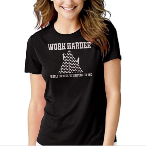 WORK HARDER BENEFITS DEPEND FUNNY Black T-shirt For Women