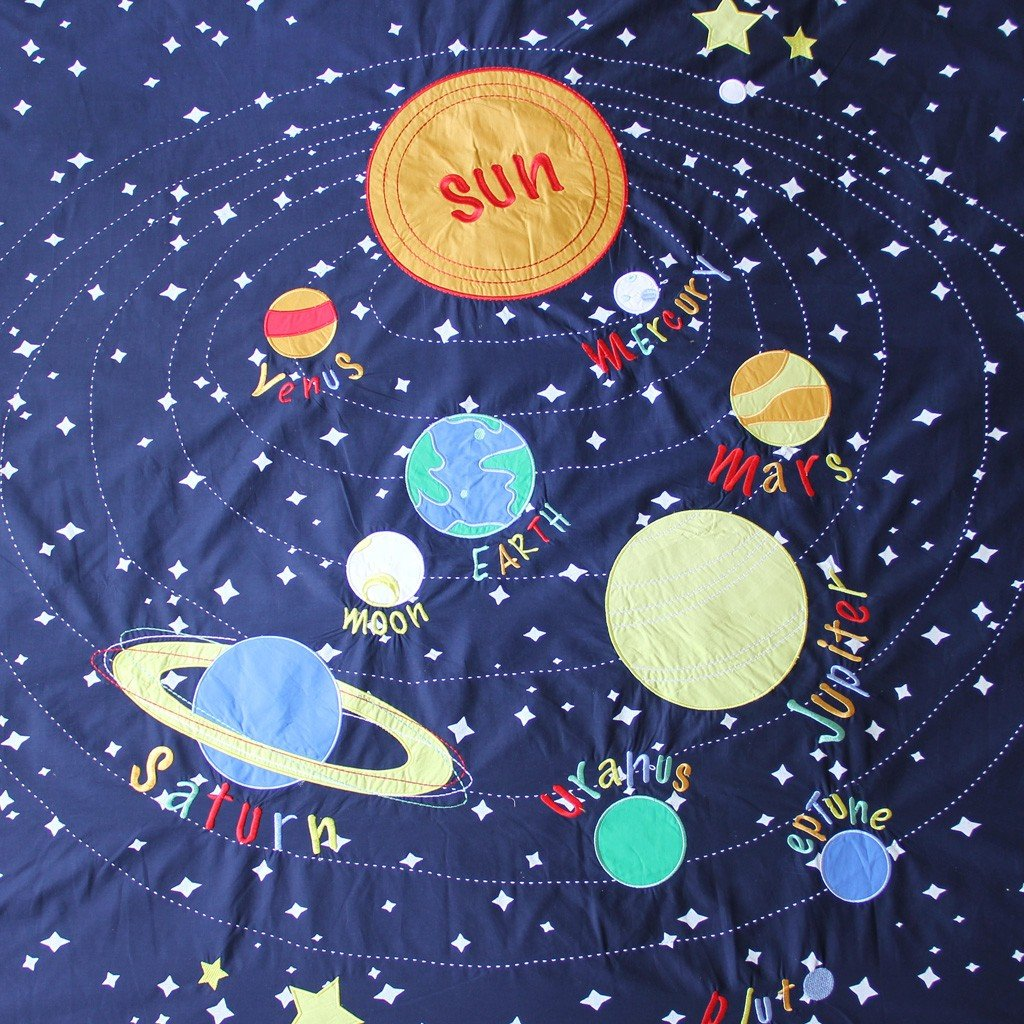 Solar System Bedroom : Solar System Space Blue Glow in Dark Twin Duvet Cover Bedding Set