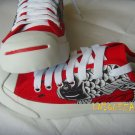 Japan Carp KOI Fish Hand Painted Red Sneakers Canvas Unique Shoes size 40 New