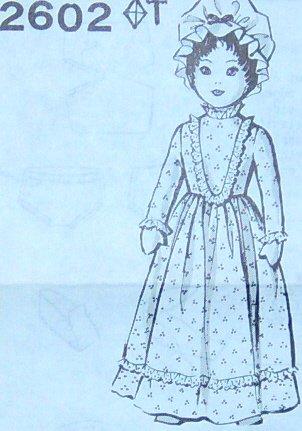 PRAIRIE GIRL DOLL Wearing A Mop-Cap Vintage Pattern