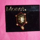Gold Turtle Brooch Pin Monet Designer Signed Vintage