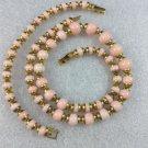 Avon Pink and Gold Bead Necklace and Bracelet Vintage Designer Signed