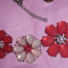 Bib Necklace Bronze Metal Foil Back Pink and Coral Resin Flowers