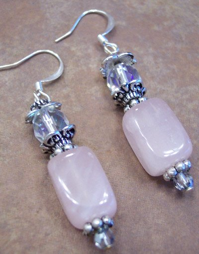 Rose Quartz Genstone Earrings, JE4