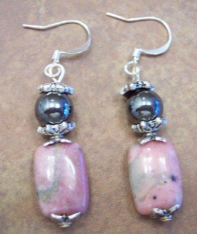 Pink Rhondonite Gemstone Earrings, JE5