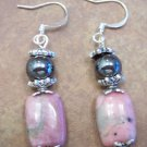 Pink Rhondonite Gemstone Earrings, JE5