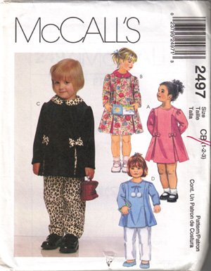 MCCALL'S Toddler Dress/Top, Pull on Pants, sz 1-3, (PA12)