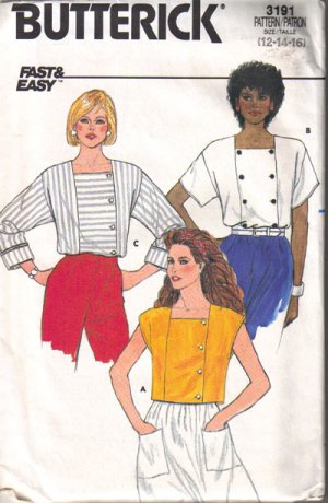 BUTTERICK Misses&#039; Loose-fitting Top Size 12-14-16  PA39